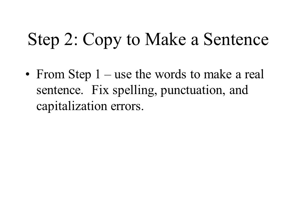 how to make sentences with step