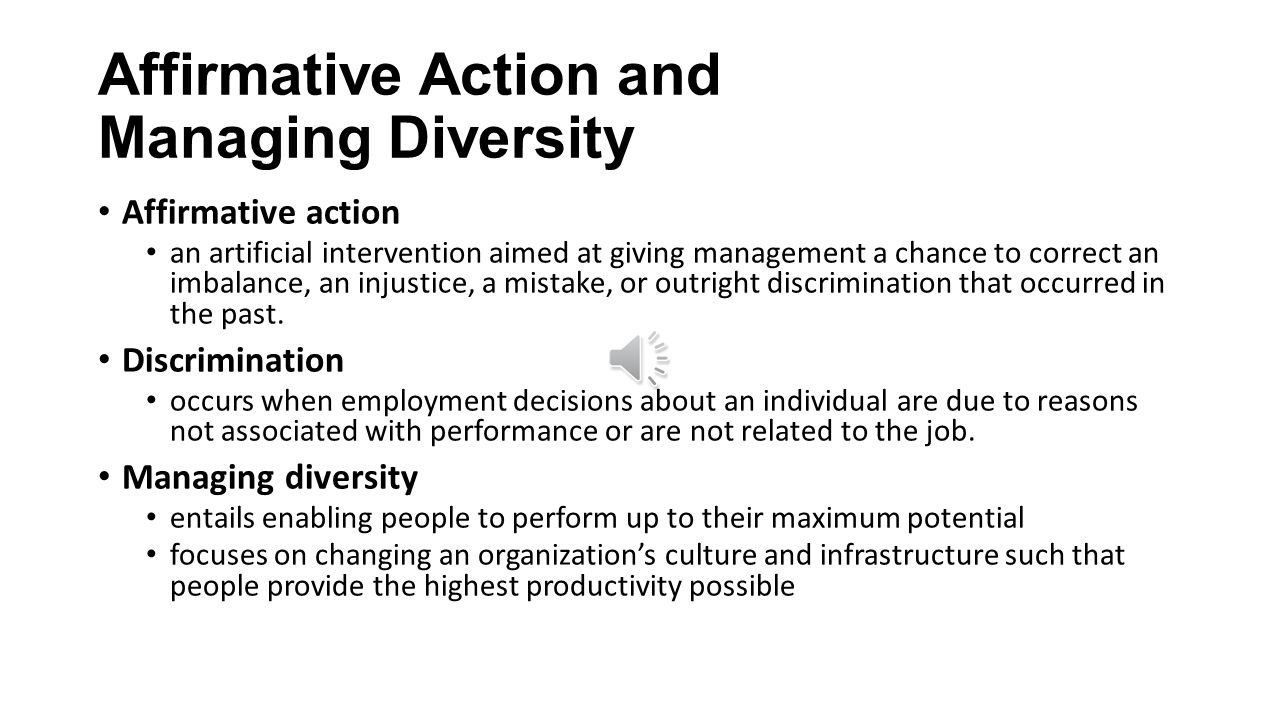 affirmative action diversity for individuals to Affirmative action is really just numbers -- how many people do i have and where  simmons says managers with that mind-set can feel good and think their.