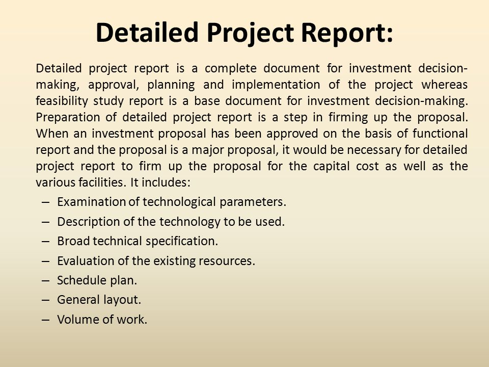 Detailed Project Report  Ppt Video Online Download