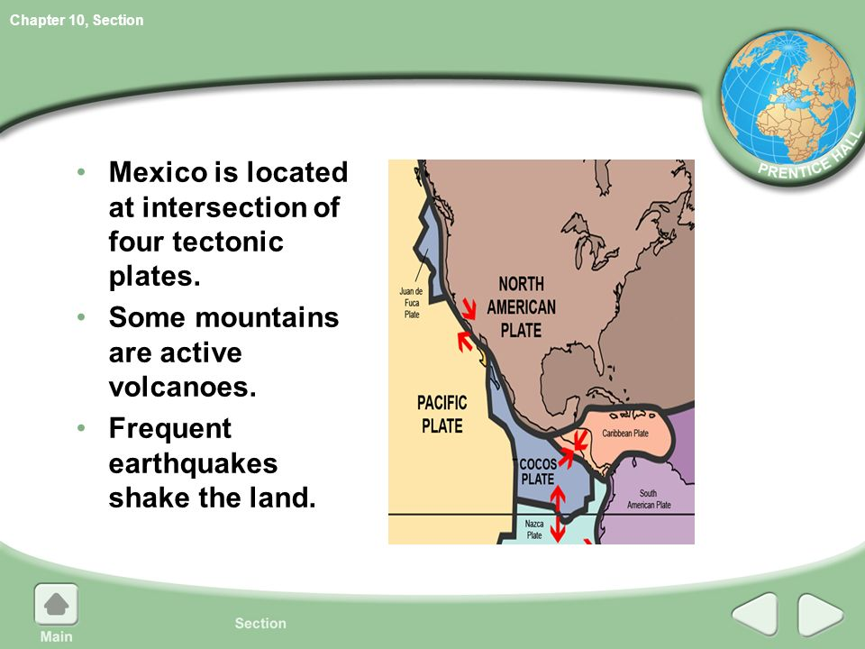 relationship between plate tectonics and landforms in mexico
