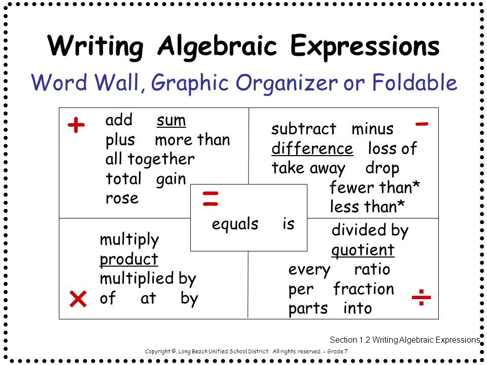 write algebraic expressions Free tutorial: writing algebraic expressions can be confusing for some use this lesson on writing algebraic equations to help you better understand them.