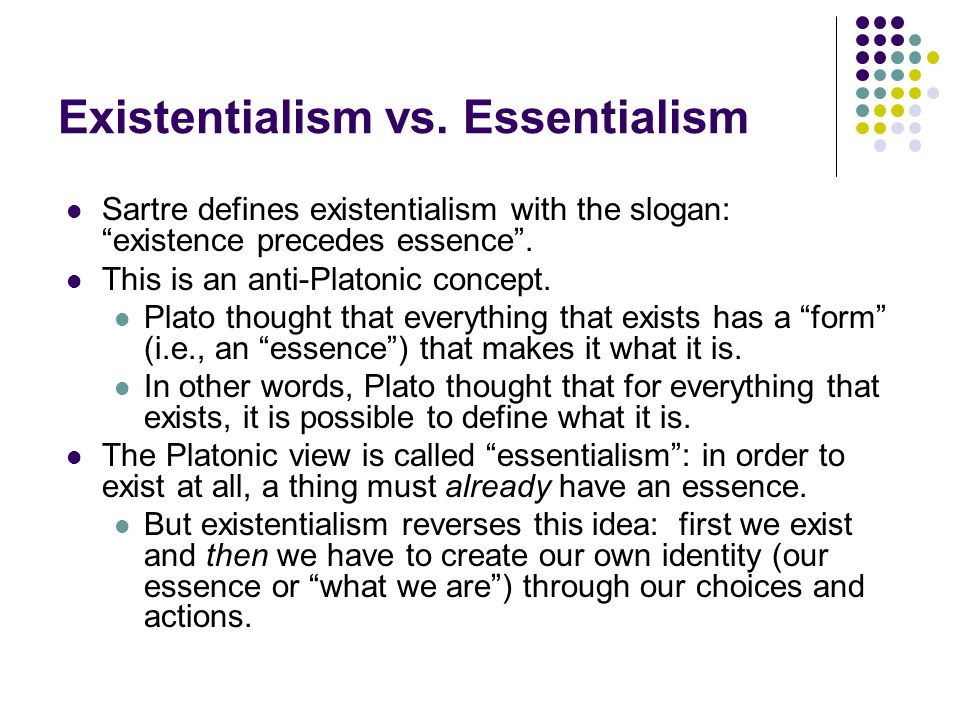 essentialist thesis Essentialism in ecofeminist discourse elizabeth carlassare on 17 november 1980 in washington essentialist arguments have been a common ploy used to mark woman as.