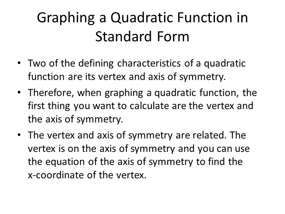 Standard Form of a Quadratic Function Lesson 4-2 Part 1 ... Quadratic Function In Standard Form