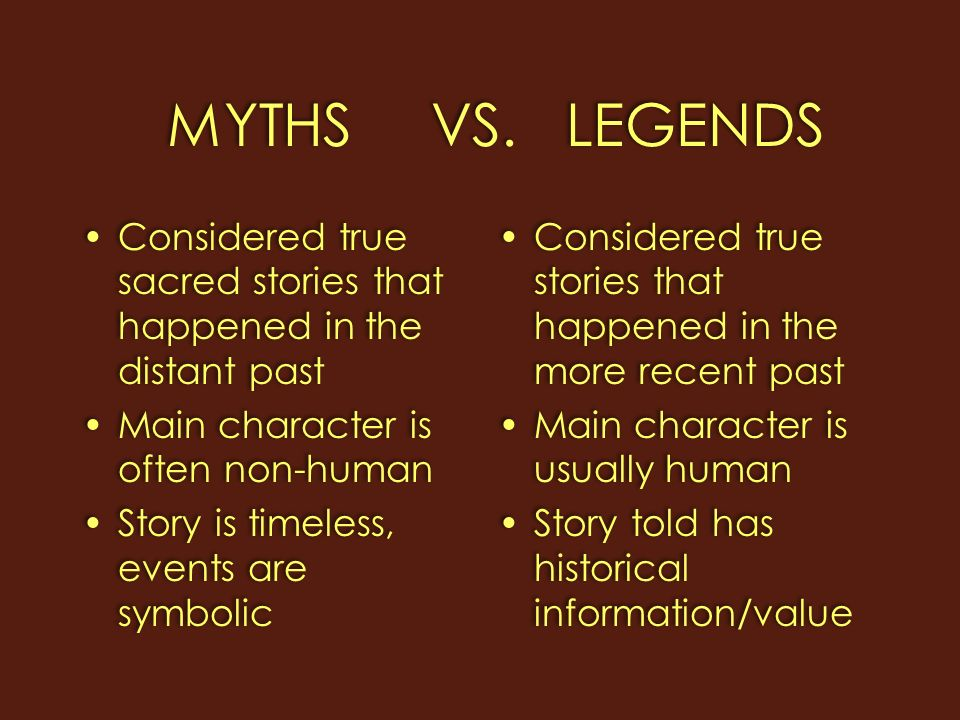 writing a myth example of legend