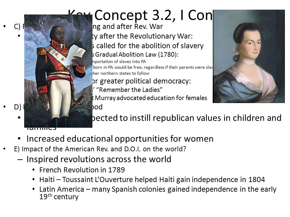 The concept of freedom and equality by the colonists in the new world