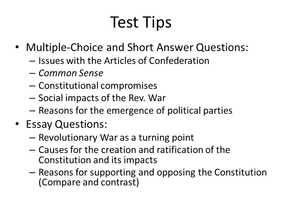 revolutionary war essay questions The revolutionary war keyword essays and term papers available at echeatcom, the largest free essay community.
