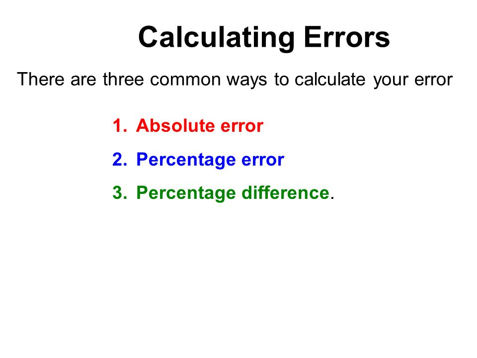 how to find the percentage of error