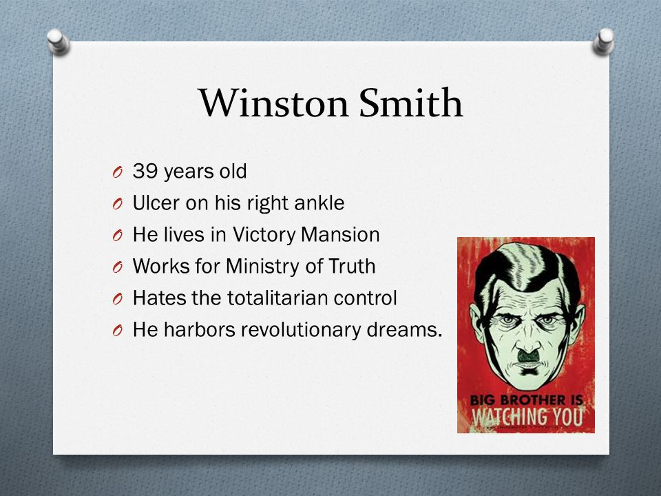 winston smith character outline Character winston smith in 1984 a character analysis of julia in 1984 by george orwell the themes of monopolization of power and manipulation of people's thoughts in george orwell's 1984 once you're done with your essay, you can have the kibin editors look over it they'll help you with more than just spelling and grammar—they'll make sure you have a strong thesis and supporting details.