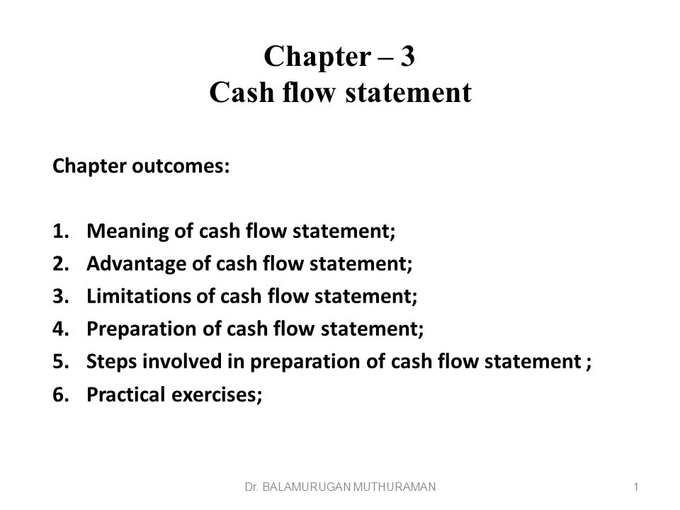 Chapter – 3 Cash flow statement