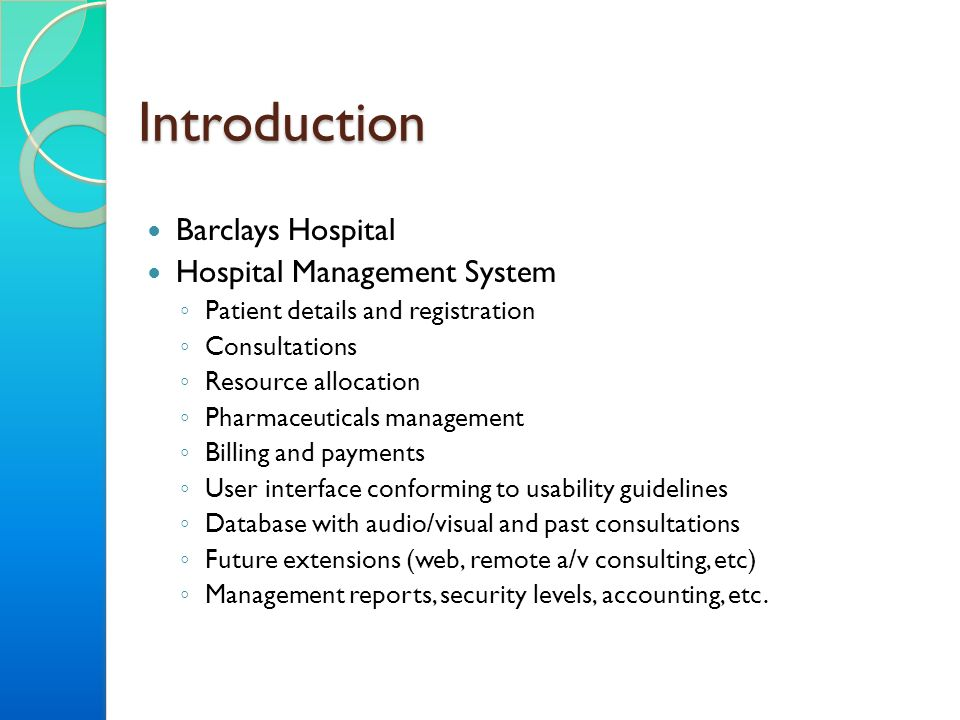 introduction in hospital billing system System analysis design hospital management system  billing module:-billing module is used to calculate the bill of the patient description of the program.