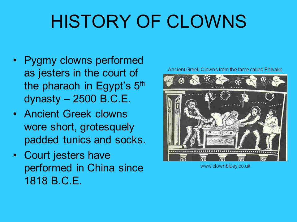 history of clowns Clowns are currently viewed with fear and even as potential menaces to the public, but throughout their expansive history they've played varied roles as advisers to royalty, major.