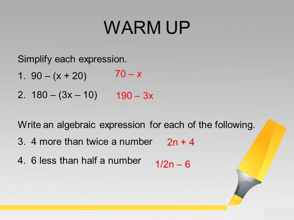WARM UP Simplify each expression – (x + 20) – (3x – 10) - ppt video ...