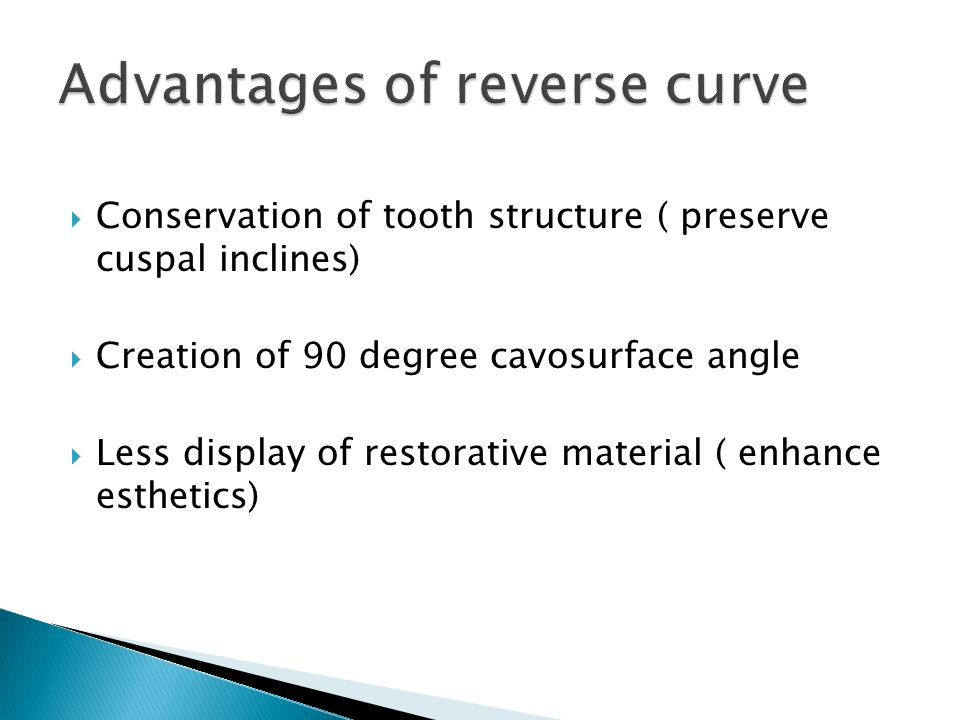 Advantages of reverse curve