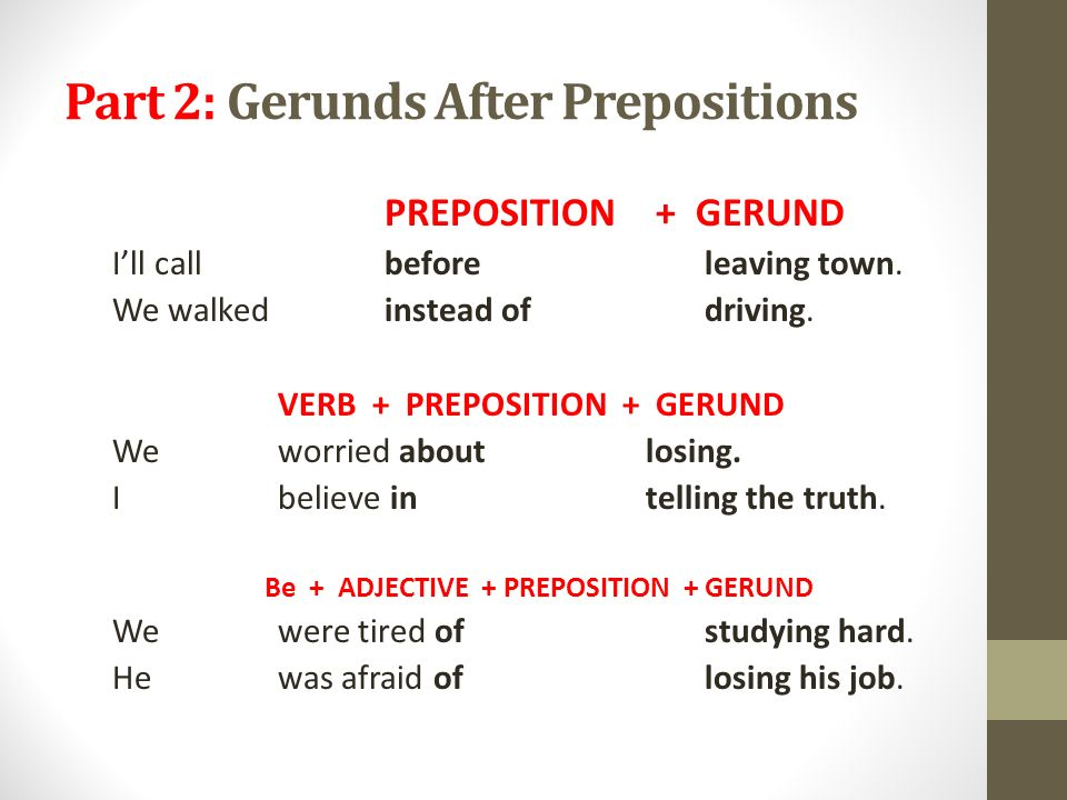 Gerund as subject or object – Exercise