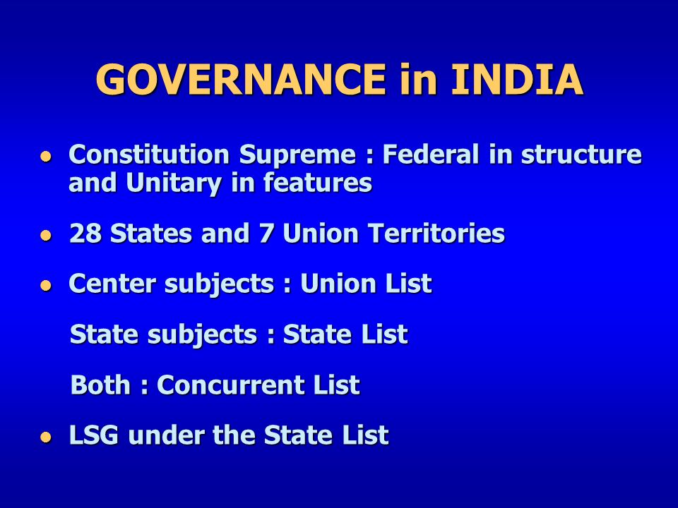 salient features of federalism in india The constitution of india is the supreme law of india it the constitution of india is federal in nature but unitary in spirit the common features of a.