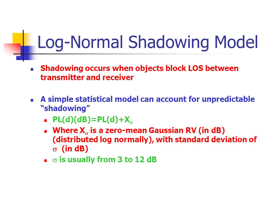 shadowing log This log-normal fluctuation was called large-area shadowing by only small-area shadowing is considered: log-normal fluctuations of the local-mean power over a.