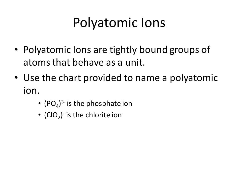 poly atomic ions chart
