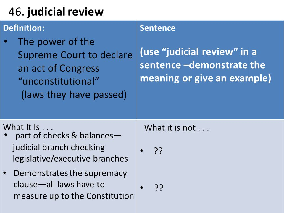 explain judicial review using two case examples About the supreme court supreme court background  some examples include cases to which the united states is a party, cases involving treaties, and cases involving ships on the high seas and navigable waterways (admiralty cases)  the best-known power of the supreme court is judicial review, or the ability of the court to declare a.