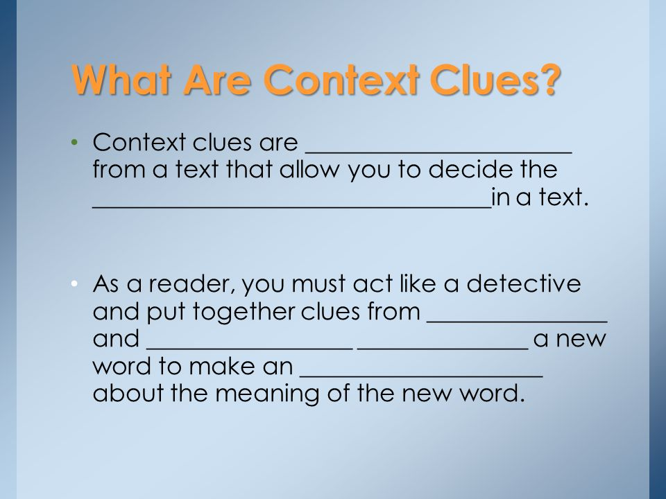 context clues a clue about an