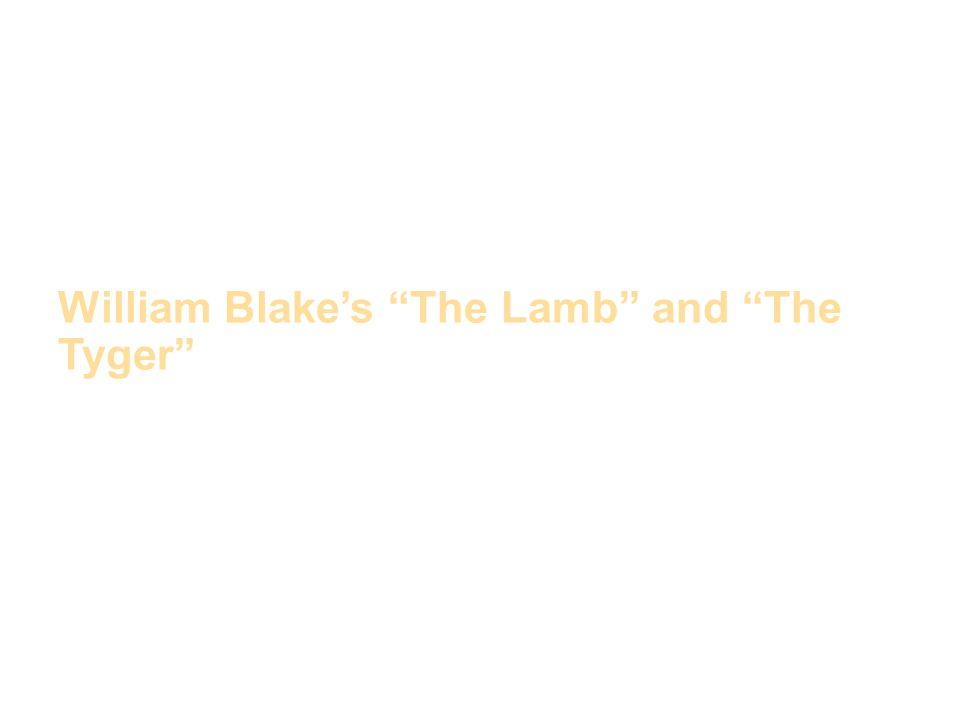 william blake the lamb and the The two poems written by william blake feature animals that are antithetical, one symbolizing the goodness, peace, harmony and unity in the world whilst the other the presence of darkness in.