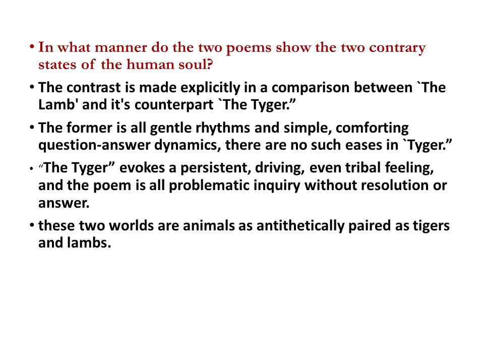 A comparison between the innocence in the lamb and experience in the tyger two poems by william blak