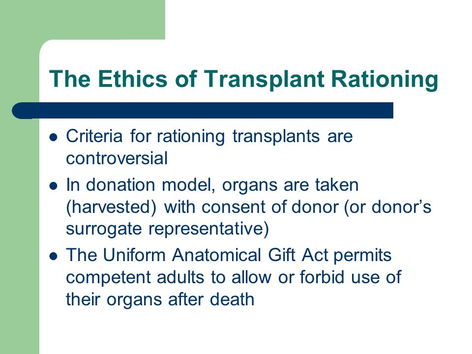 ethical aspects of organ allocation Asking for help: this web site is educational and intended to inform patients, donors, and families about some of the key issues in transplantation and living donation if you are a patient, potential organ donor, someone who has donated, or a caregiver and you need ethics advice, please request an ethics consult from your.