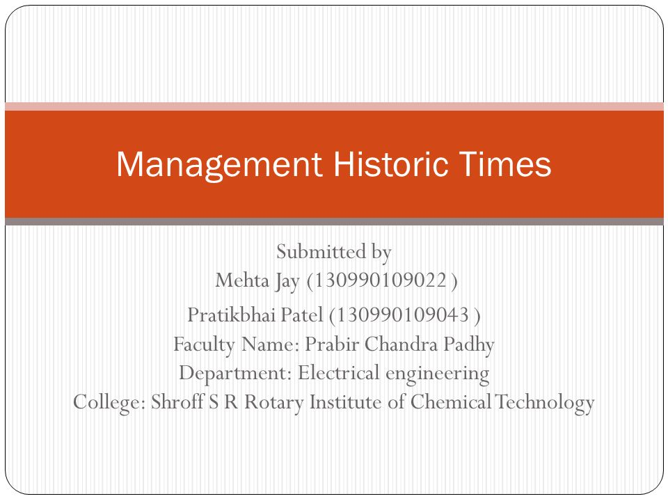 Management Historic Times