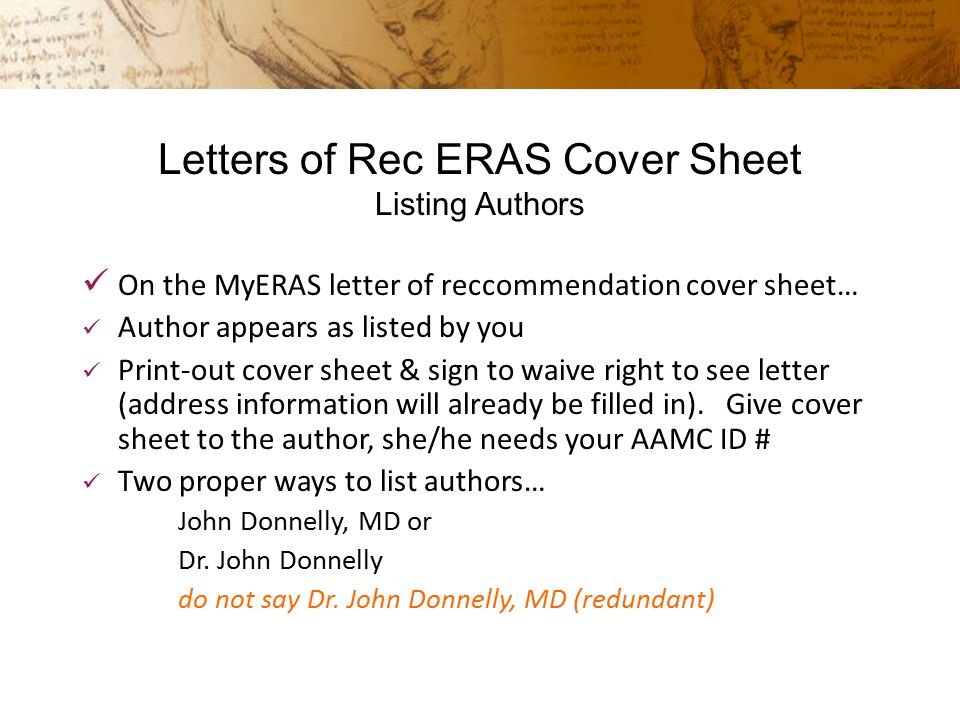 aamc letter of recommendation cover sheet Request for letter of recommendation eras cover sheet explains the special procedures needed to prepare a letter for include.