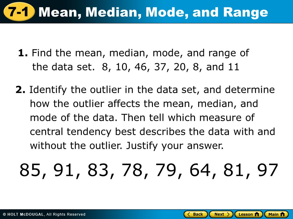 Range Of Data ~ Warm up order the numbers from least to greatest