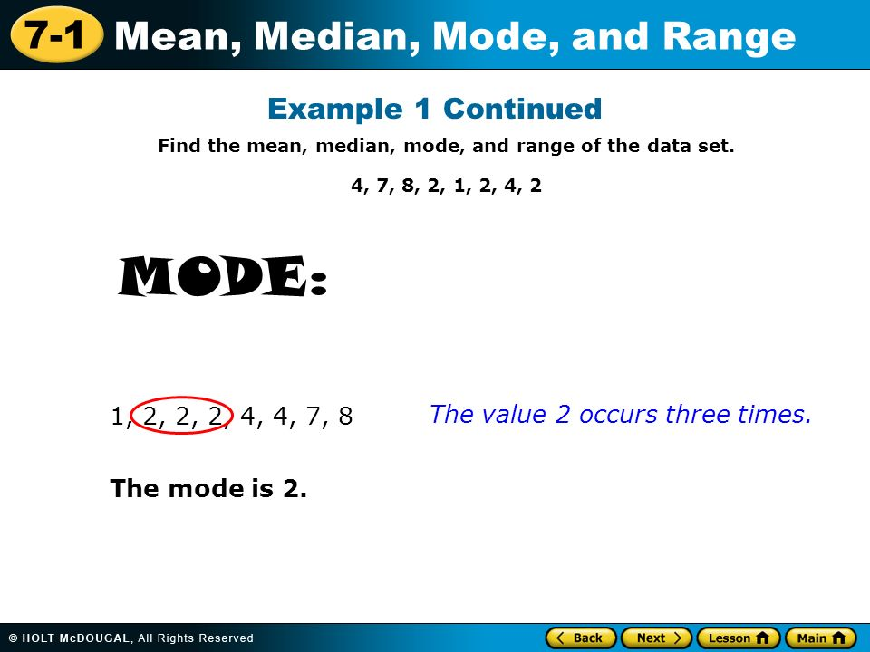how to find the mean and range