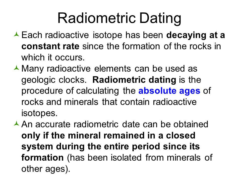 Sedimentary rocks radiometric dating
