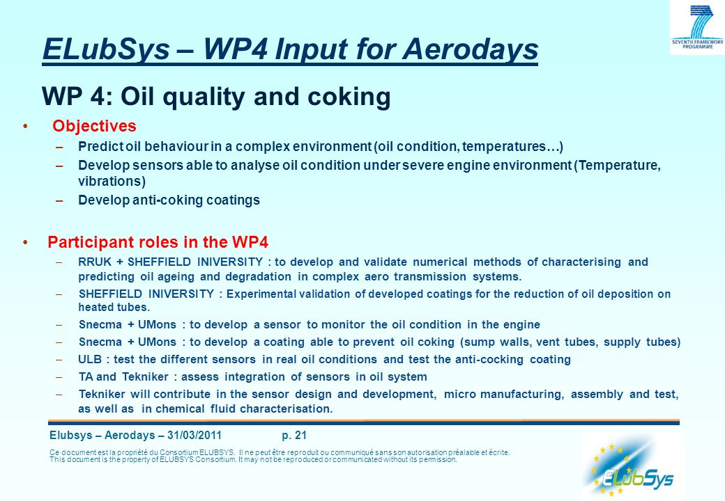 ELubSys – WP4 Input for Aerodays WP 4: Oil quality and coking