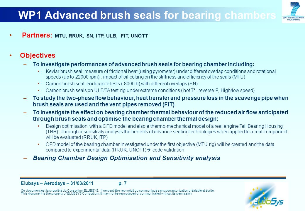 WP1 Advanced brush seals for bearing chambers
