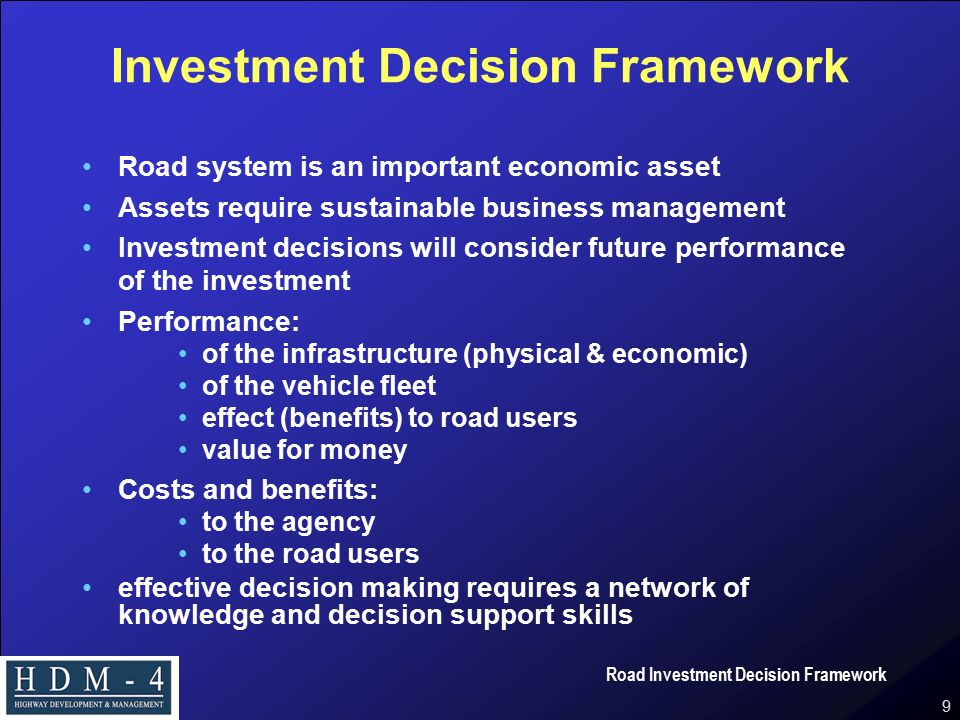 Road Investment Decision Framework Ppt Video Online Download