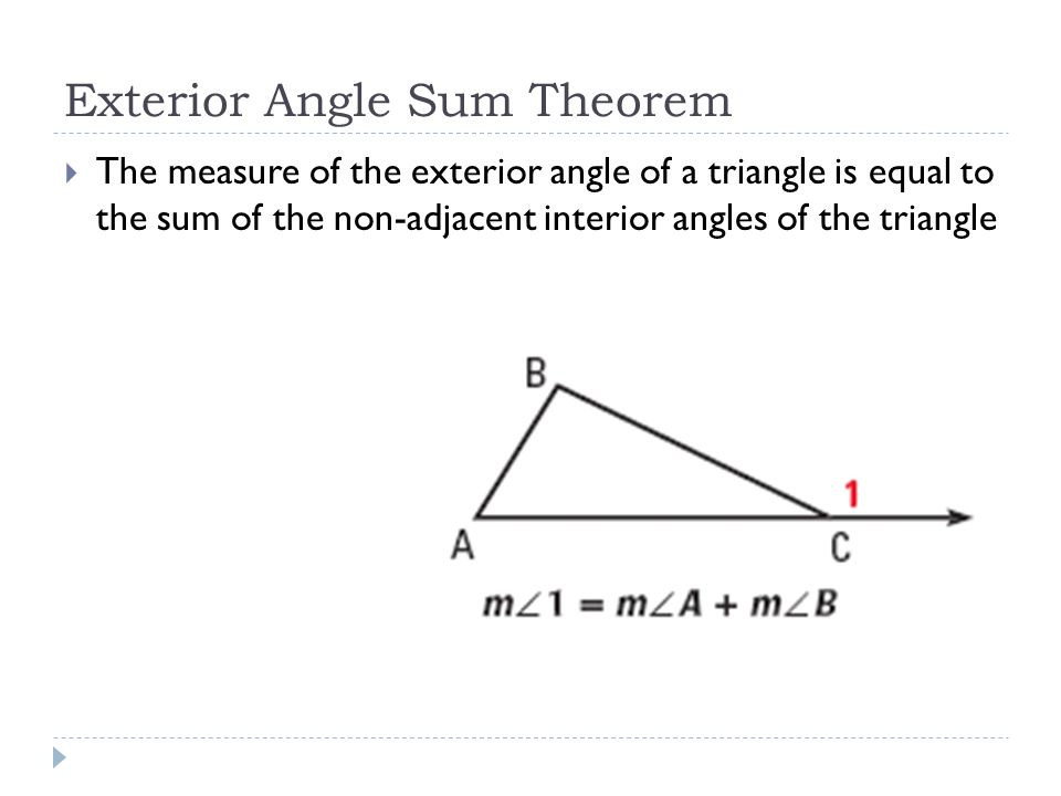Applying triangle sum properties ppt video online download - Sum of the exterior angles of a triangle ...