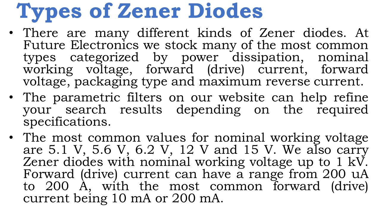 Types of Zener Diodes