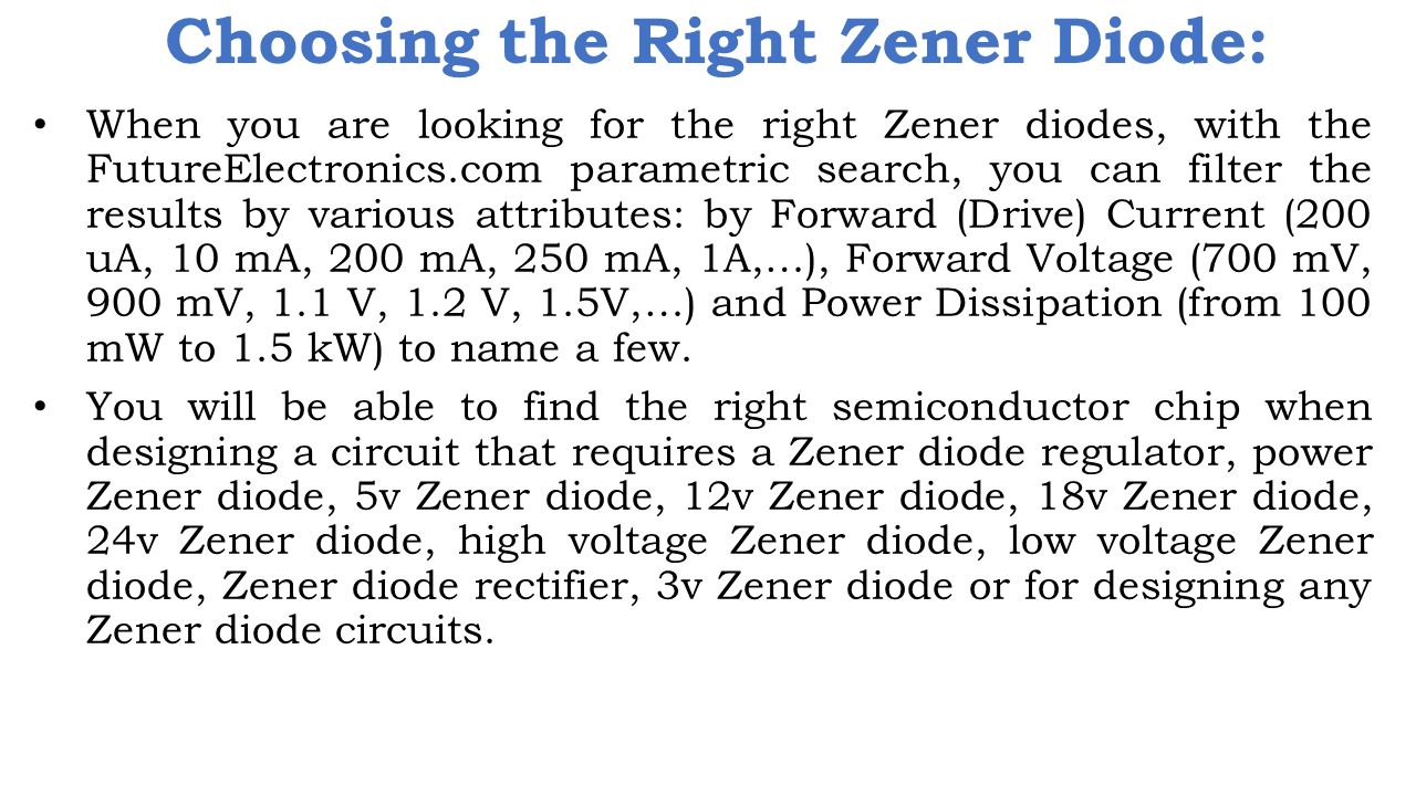 Choosing the Right Zener Diode: