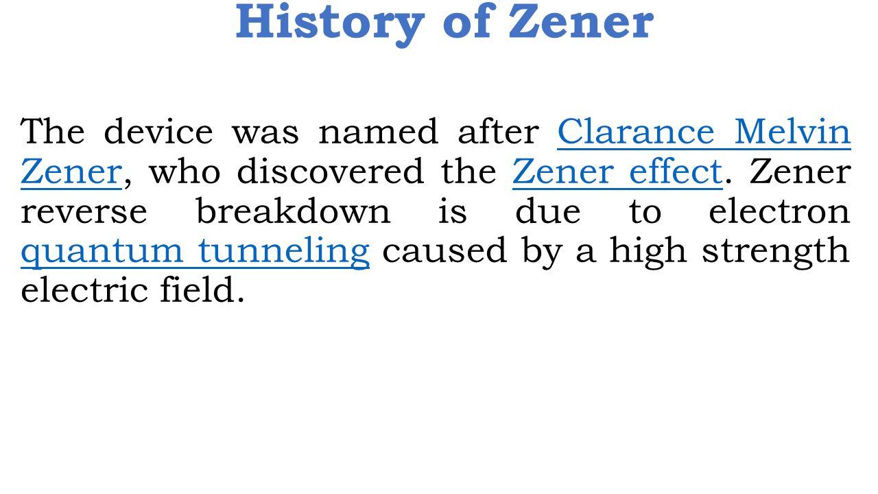 History of Zener