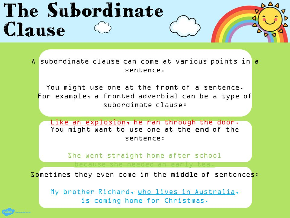 An informative PowerPoint about subordinate clauses ppt video – Subordinate Clauses Worksheet