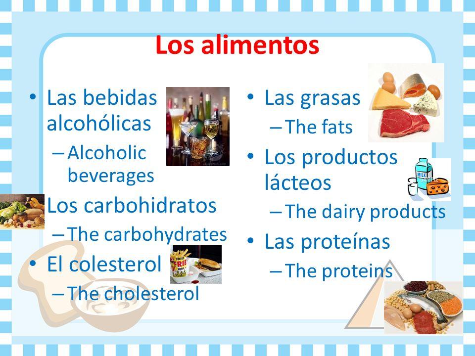 Los alimentos Las bebidas alcohólicas Los carbohidratos El colesterol
