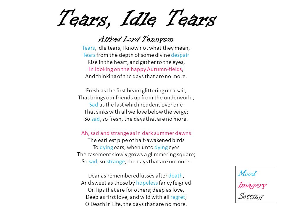 """alfred lord tennyson song tears idle tears The poem, """"song: tears, idle tears"""" was part of a longer poem, and it was written as a song, as the title clearly states alfred lord tennyson was british and was born in 1809 and he died in 1892."""
