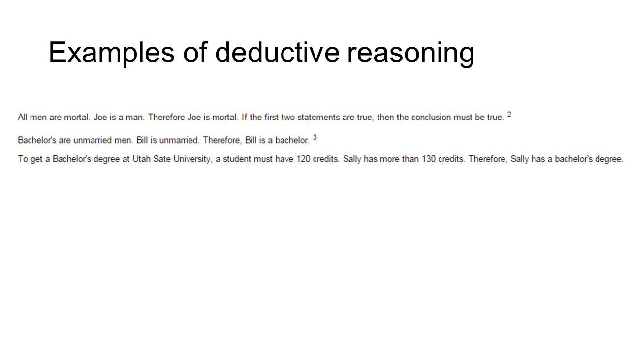 examples of deductive research Deductive reasoning: examples & definition  the reason this type of reasoning is not as commonly used as inductive reasoning is the risk of only looking for research that supports your .