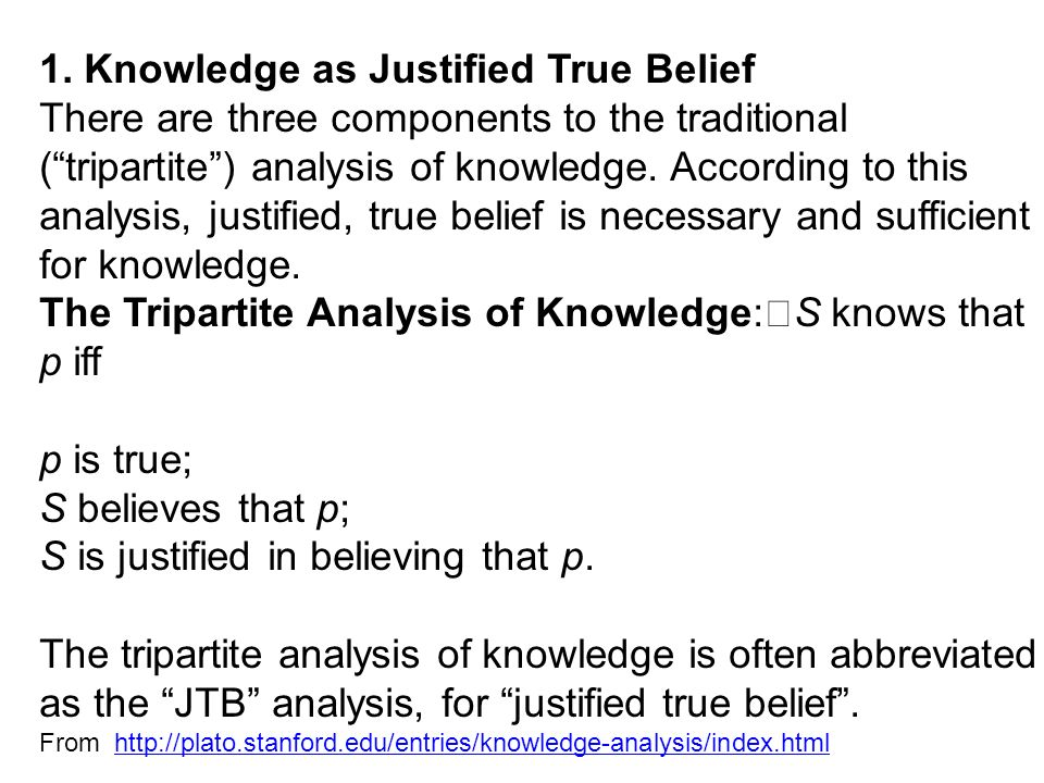 an analysis of belief and knowledge We investigate various attempts to analyze the concept of knowledge  are  there reasons to doubt that knowledge requires belief, justification, or truth we  will.