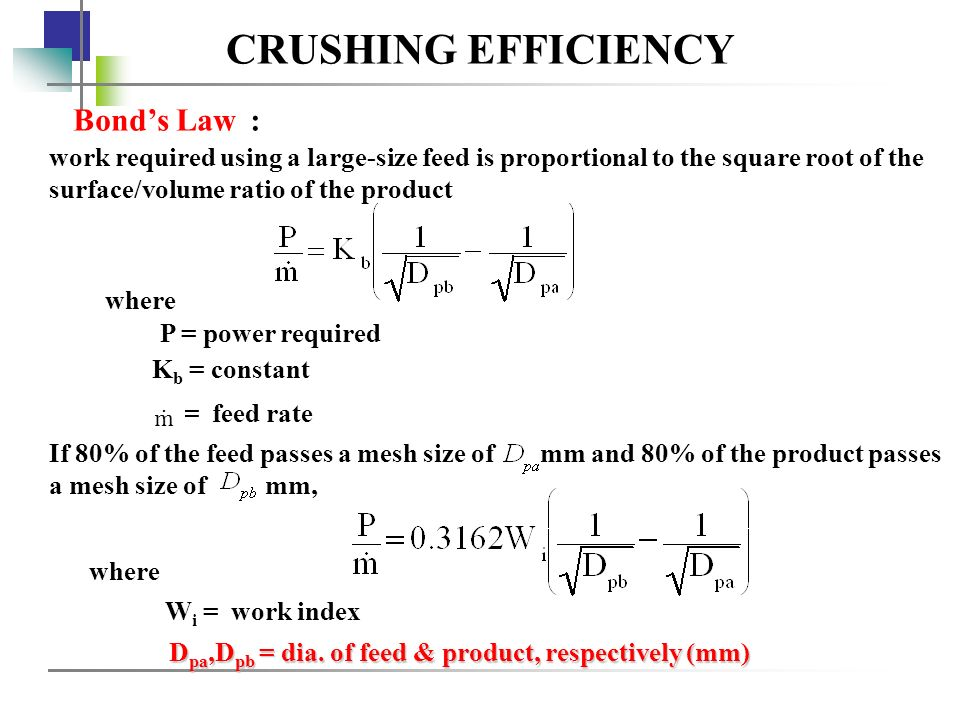 CRUSHING EFFICIENCY Bond's Law :