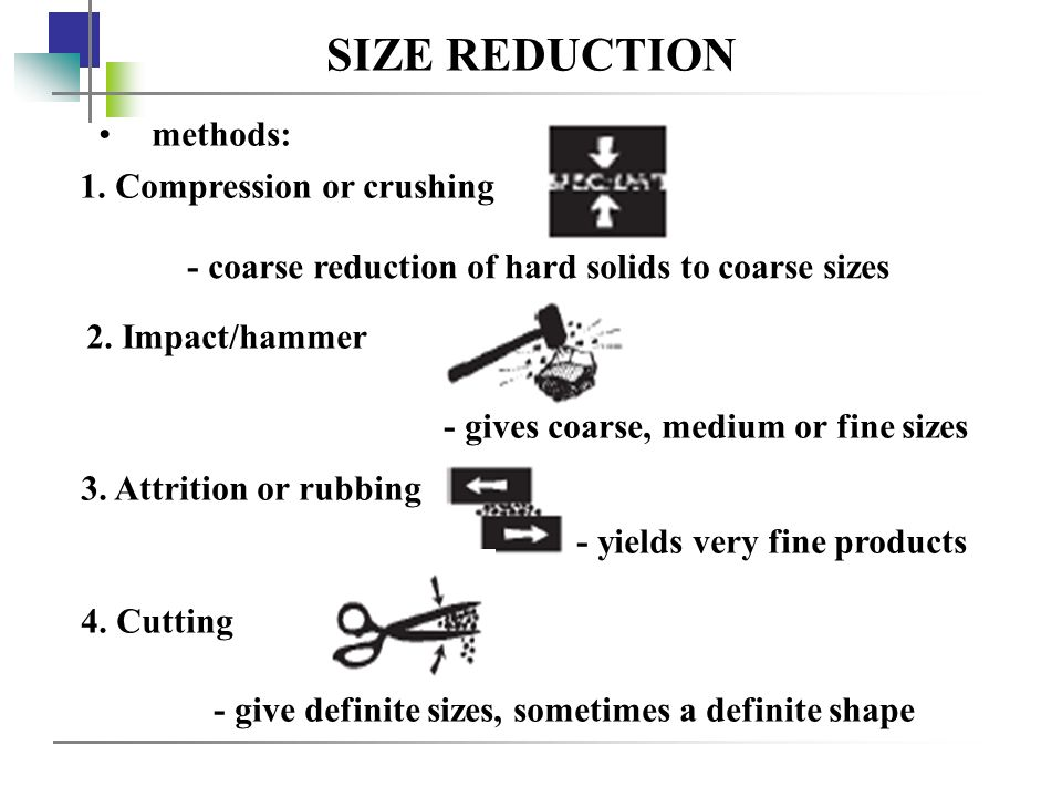 SIZE REDUCTION methods: