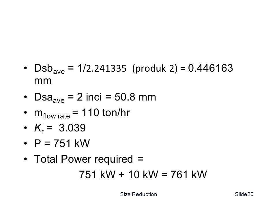 Dsbave = 1/2.241335 (produk 2) = 0.446163 mm Dsaave = 2 inci = 50.8 mm