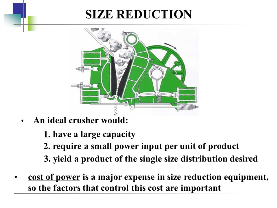 SIZE REDUCTION 1. have a large capacity