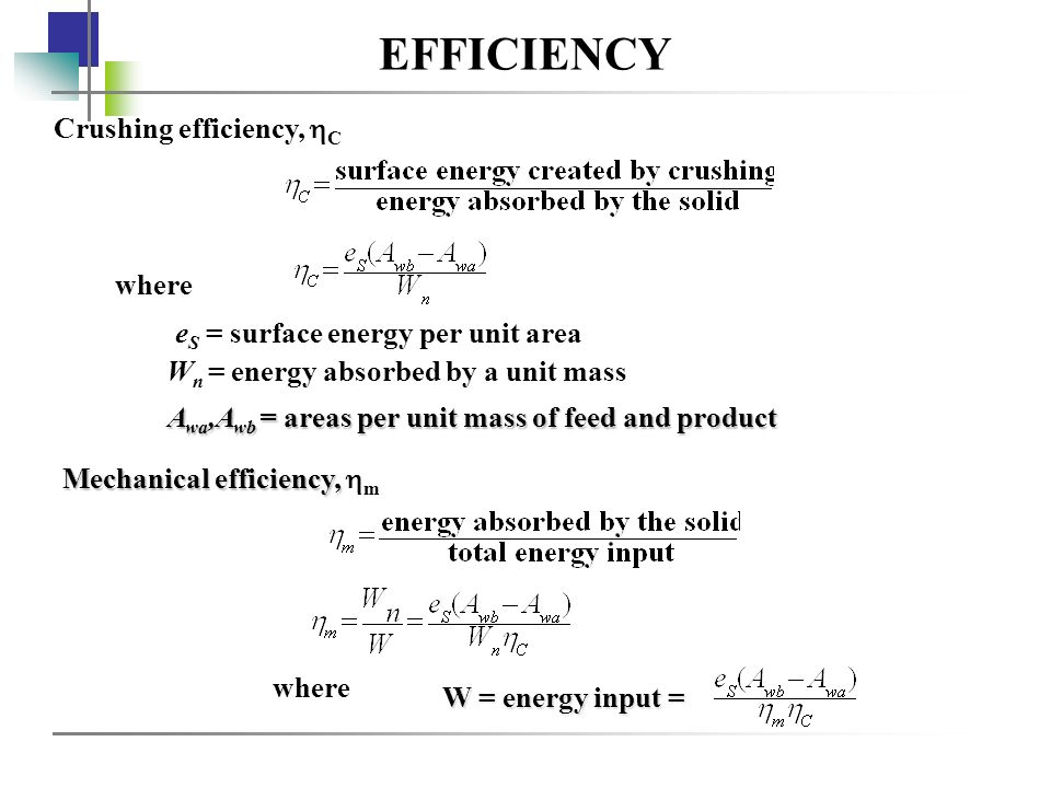 EFFICIENCY Crushing efficiency, C where