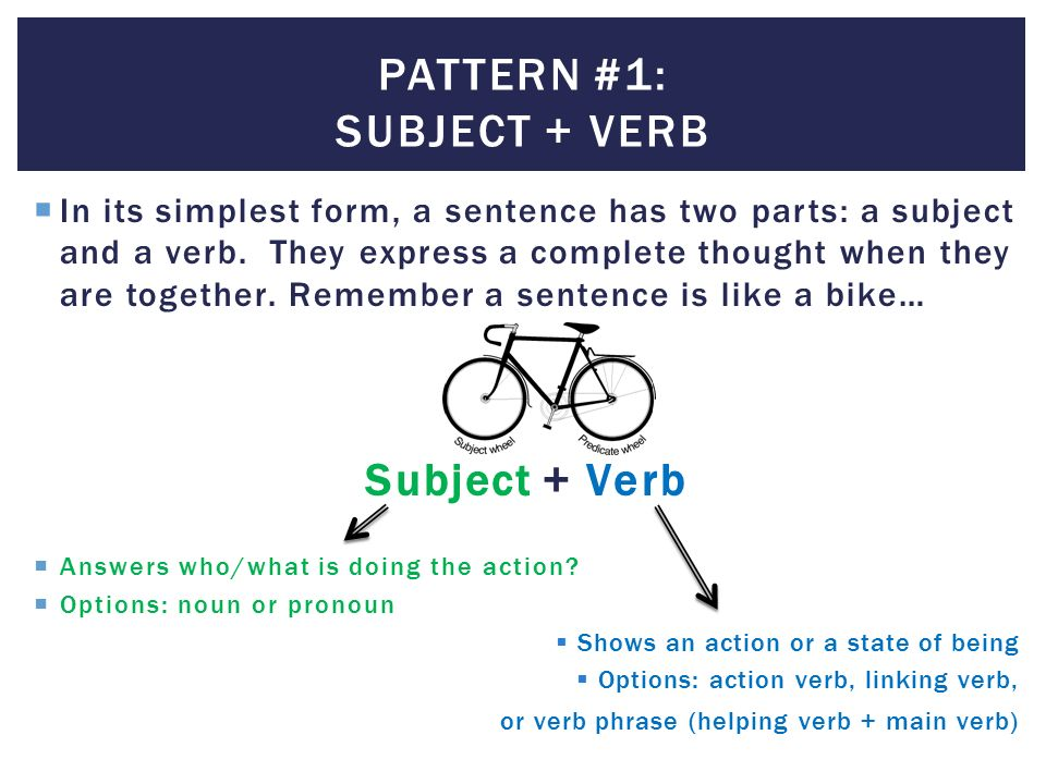 subject and verb patterns A firm grasp of the rules of subject verb agreement is essential for expressing yourself in the english language.