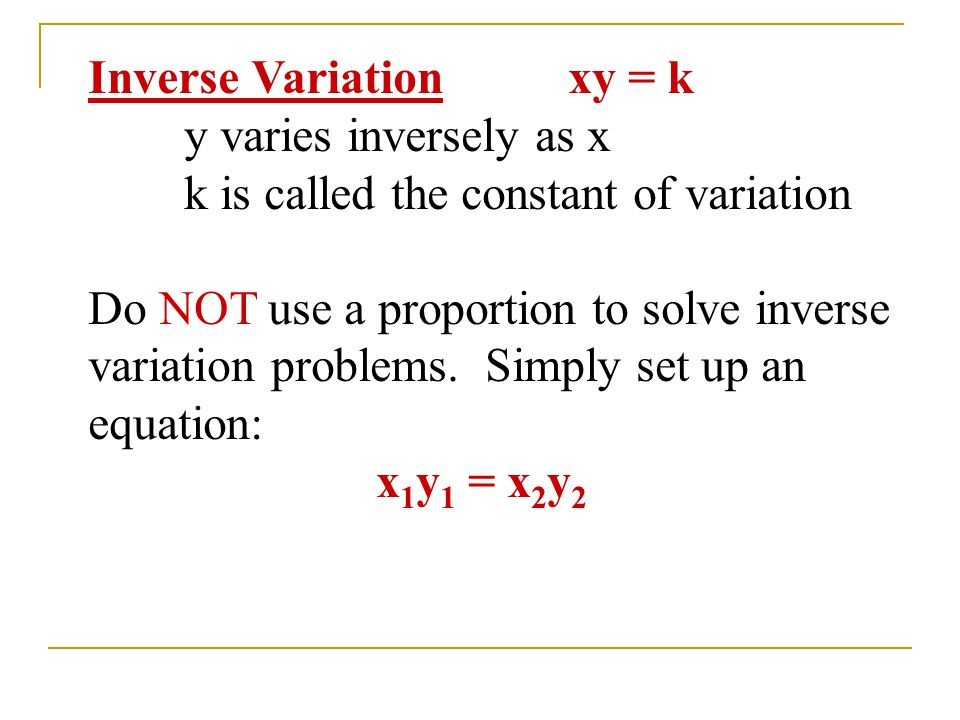 Direct Variation If two quantities vary directly, their ...